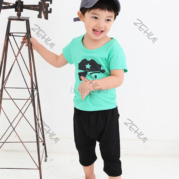 Summer Kids Baby Boy Short Sleeve T shirt Round Neck Cotton Blouse Tops 1-6Years