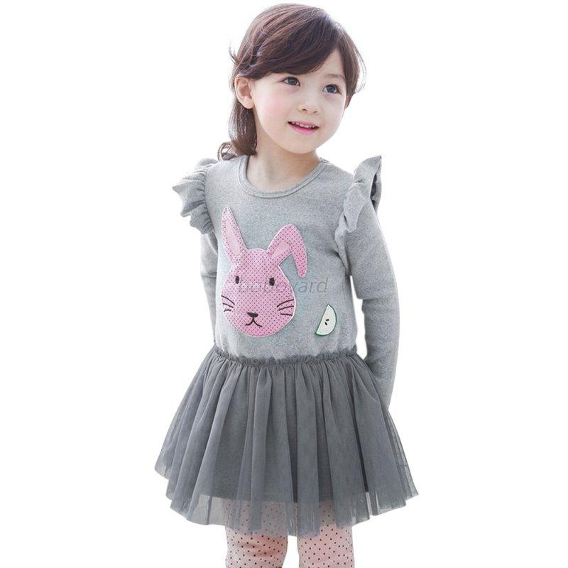 Useful Infant Kids Girl Animal Print Outfits Clothing Long Sleeve Cotton Dress