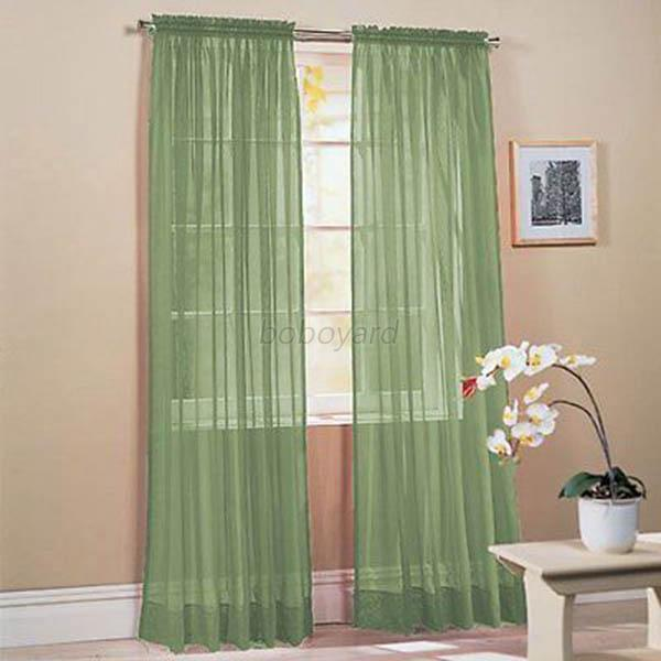 10 Colors Hot Sale Window Door Sheer Voile Curtain Drape Panel Scarf Home Decor