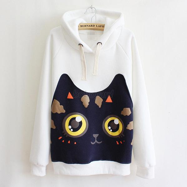Fashion Women Hoodie Sweater Cute Cat Long Sleeve Casual Pullover Blouse HOT BOQ