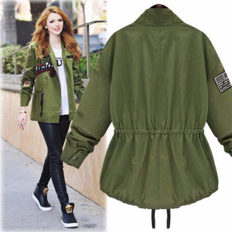 Women embroidered plus size coat jacket trench windbreaker