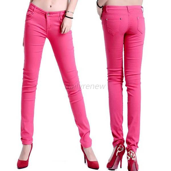 Women Casual Stretch Candy Color Pencil Pants Legging Slim Skinny Jeans Trousers
