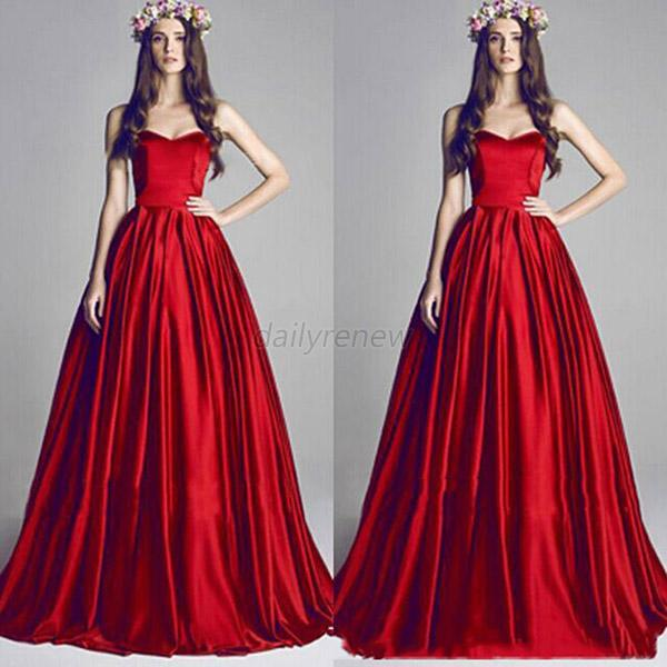 Elegant Lady Red Bridesmaid Evening Party Prom Cocktail  Formal Long Dress  D80