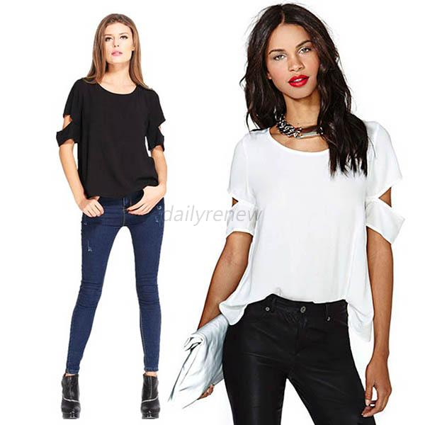 Women Short Sleeve T shirt White Chiffon Blouse Tops Backless Cut-out Shirt Hot