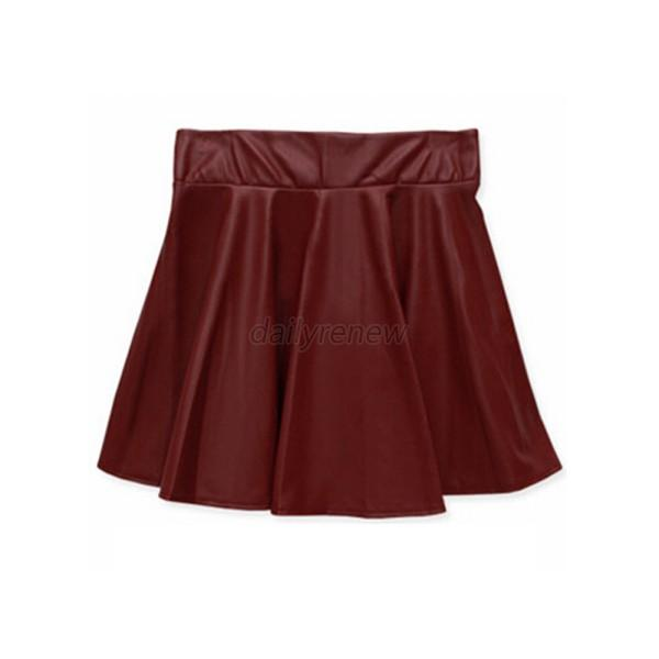 Vogue Women Girls Faux Leather High Waist Skater Flared Pleated Short Mini Skirt