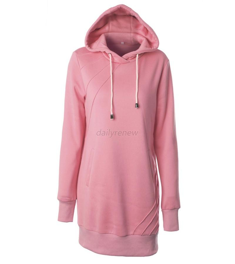 women casual loose long hoodie sweatshirt dress hooded pullover pockets sweater ebay. Black Bedroom Furniture Sets. Home Design Ideas