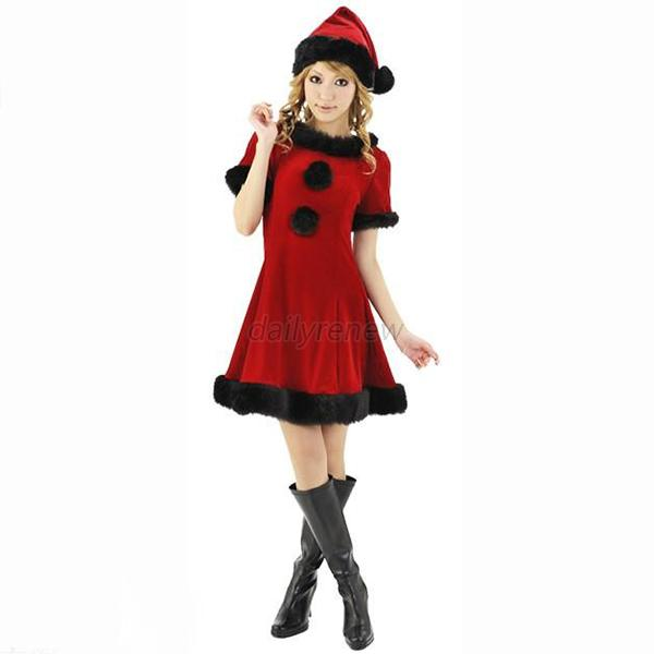 Womens sexy xmas dress costume santa claus suit party outfits dress