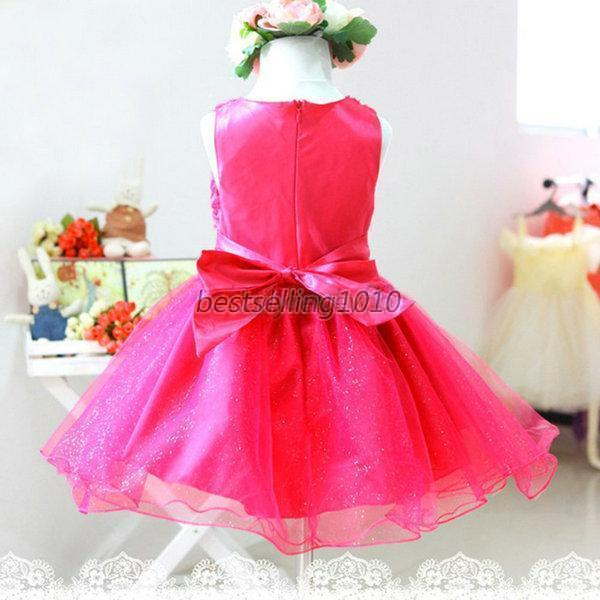 Summer Child Baby Girl Clothes Sleeveless Flower Tutu Dress Party Dress 2-7Y D95