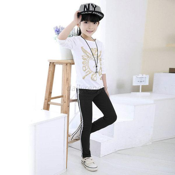 Toddler Baby Girl Kid Stripes Casual Sport Pants Long Trousers Leggings 2-7T D73