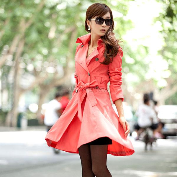 Spring Fall Womens Long Trench Coat Double-Breasted Lapel ...