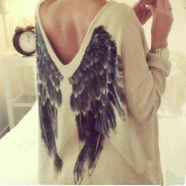 Autumn Causual Women Long Sleeve Feather Angel Wing Print Sweater V Neck Shirts