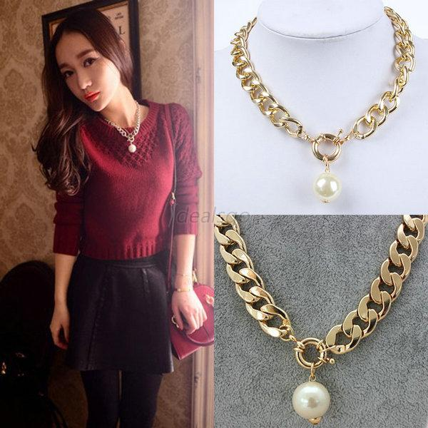 Women Jewelry Charm Chunky Chain Statement Bib Pearl Pendant Necklace Choker D41