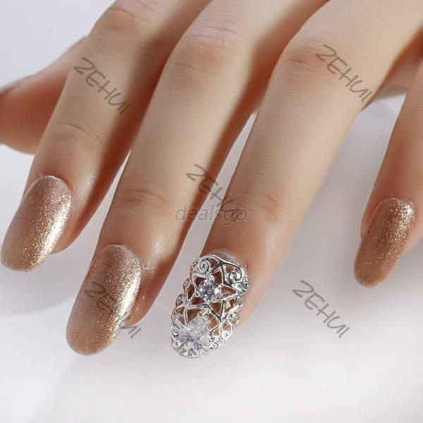 silver gold 3d hollow patch rhinestone alloy nail tips