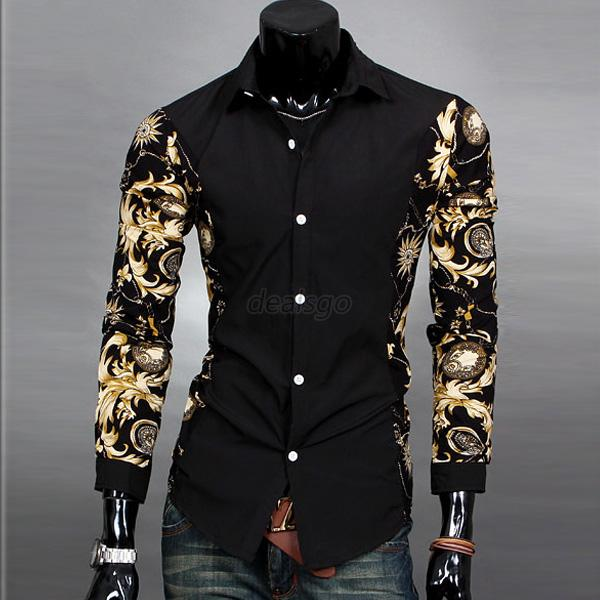 Mens slim fit casual dress shirt floral print long sleeve for Custom pattern button down shirts