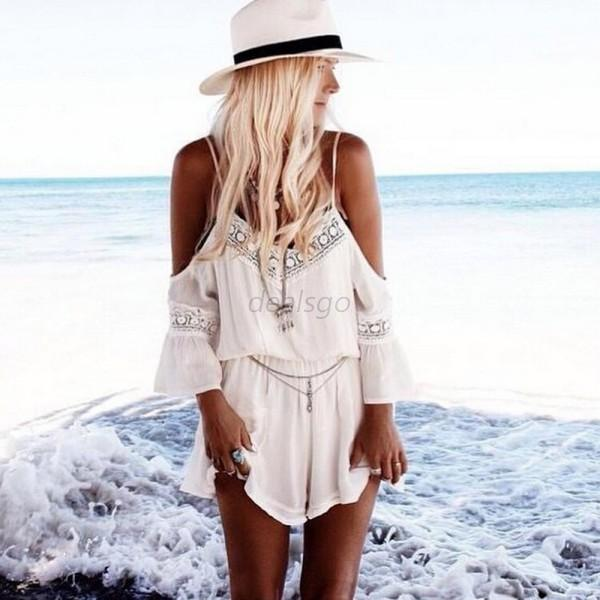 Summer Women's Lace Spaghetti Straps Backless Chiffon Rompers Jumpsuit Playsuit
