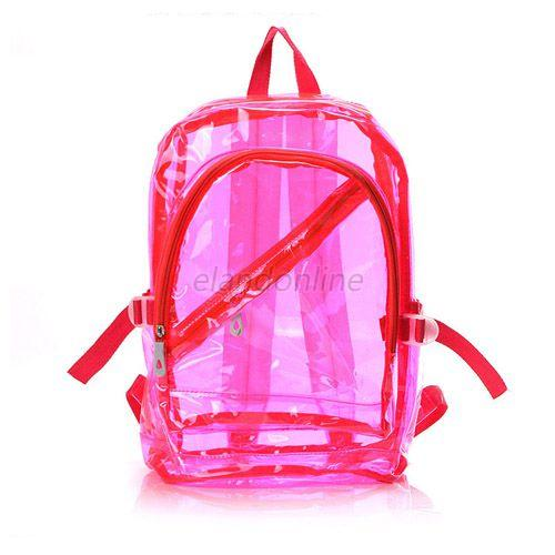 Clear Transparent Fluorescence School Bag Backpack Shoulder Travel Book Bags E29