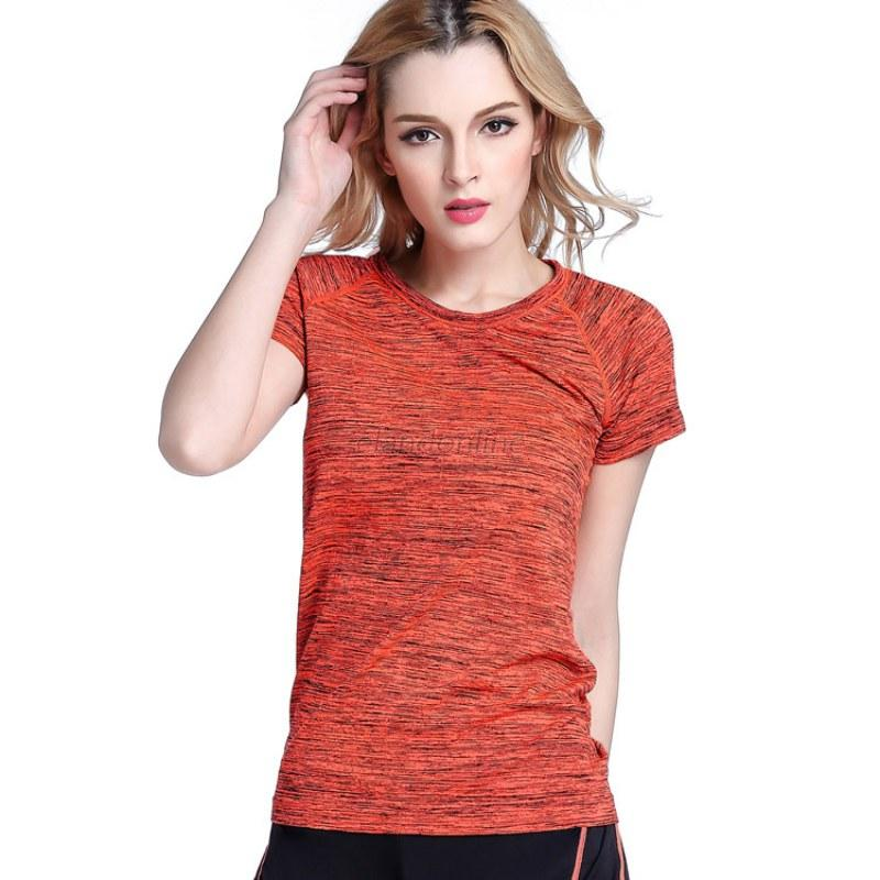 Women Gym Fitness Yoga Workout Tops Short Sleeve Quick Dry