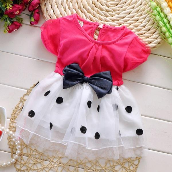 Summer Newborn to 4Y Baby Girl Dress Princess Tulle Skirt Tutu Bowknot Clothing