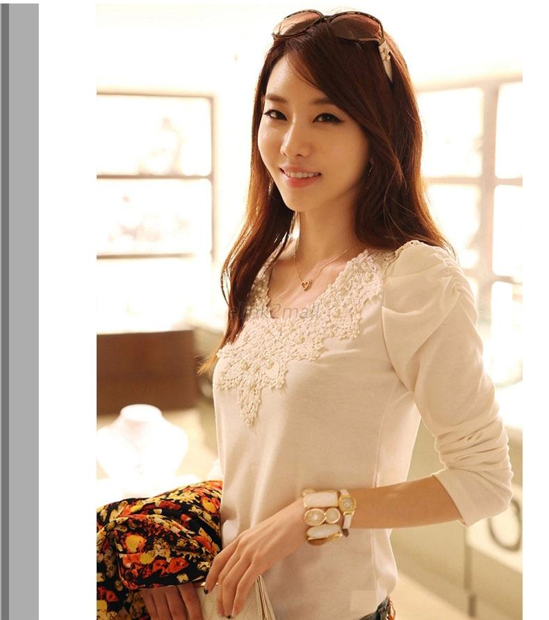 Charms Lady Womens Long Sleeve Shirt Thin Lace Crochet Embroidery Tops Blouse