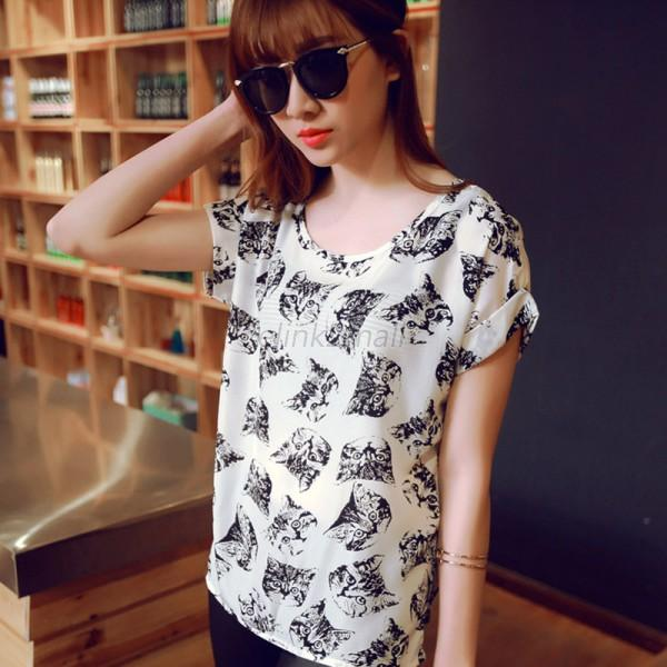 Hot Womens Summer Casual Chiffon Tops Batwing Short Sleeve Loose T Shirt Blouse