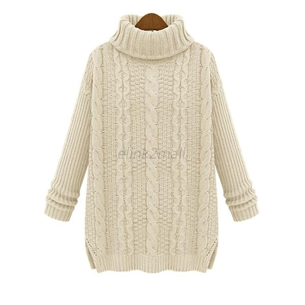 Women Wool Knitted Sweaters Pullovers Oversized Turtleneck ...