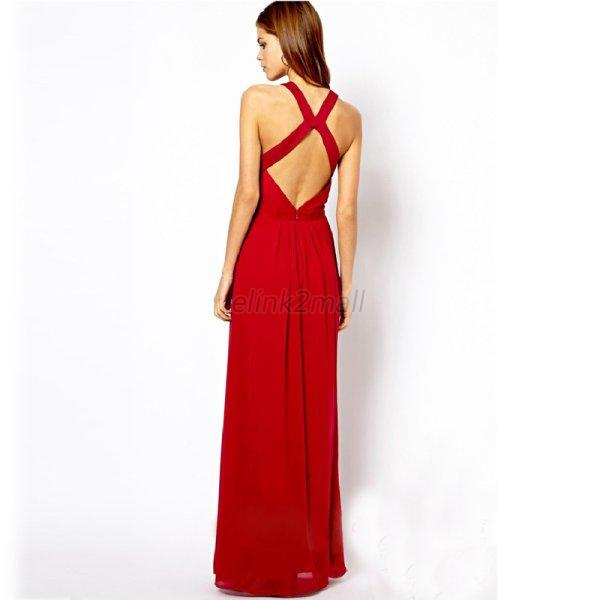 Sexy Women's Backless Sleeveless Formal Cocktail Party Evening Summer Dress Long