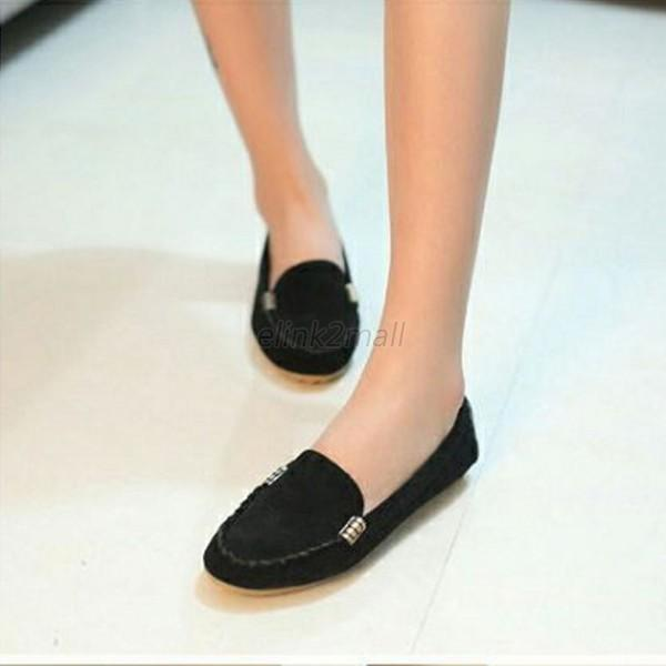 Fashion Women Boat Slip-On Oxfords Casual Comfortable Round Toe Flats Shoes E16