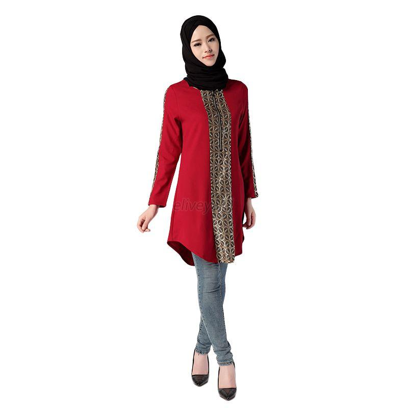 Muslim Womens Long Sleeve Casual Tops Summer Shirts Islamic Kaftan ...