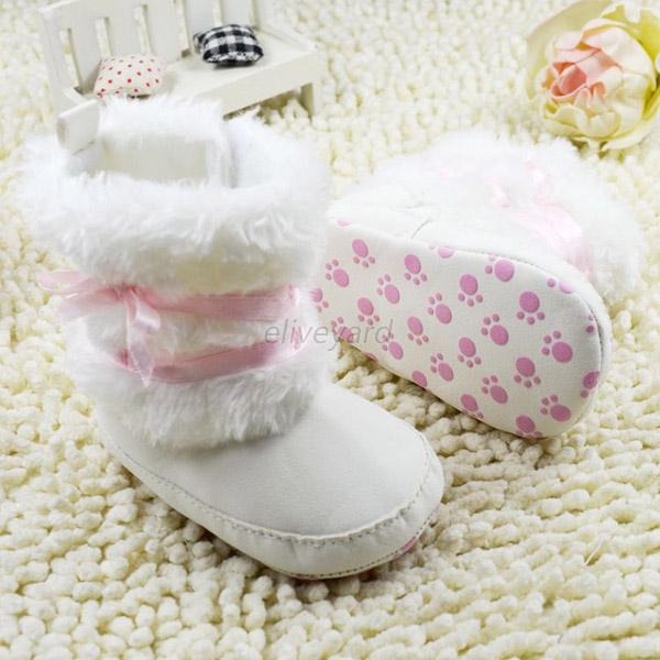 Infant Baby Girl Cute Bowknot Snow Boots Crib Shoes Toddler Warm Fleece Boots
