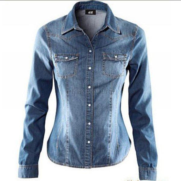 women ladies washed denim suede button down shirt long