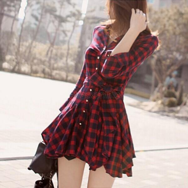Model Suzett Red Plaid Shirt Dress Bb Dakota Suzett Red Plaid Shirt Dress