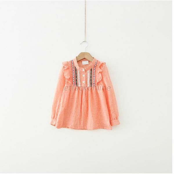Baby Kids Girls Embroidered Tops Tee Shirts Ruffle Long Sleeve T-shirts 1-6Y E37