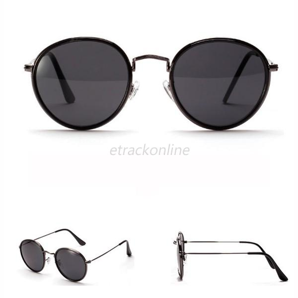 UV 400 Mirrored Len Women Men Sunglasses Metal Frame Round Shades Eyeglasses A62