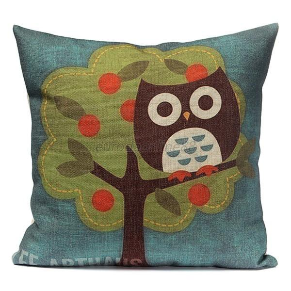 New Cotton Linen Owl Pattern Room Back Throw Sofa Cushion Square Pillow  Cover