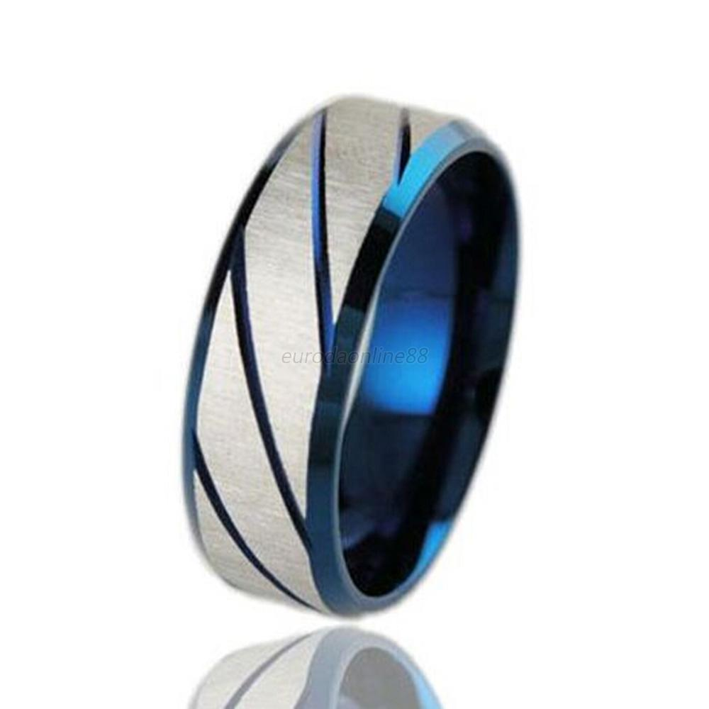 Men 39 S Wedding Band Titanium Brushed Band Ring Stainless Steel Ring Blue G