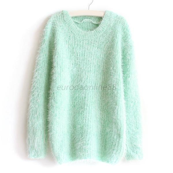 New Womens Soft Warm Pullover Long Sleeve Crewneck Sweater Loose Knitted Tops