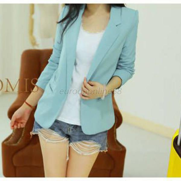 Fashion Women Slim Shrug Suit Blazer Long Sleeve Casual Top Cardigan Coat Jacket