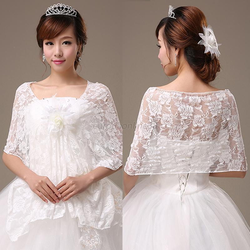Wedding Gown Wraps: White Lace Floral Poncho Overlay Wedding Dress Prom Bridal