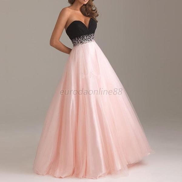 Women Long Cocktail Bridesmaid Formal Ball Gown Pink/Blue V Neck Dress S M L XL