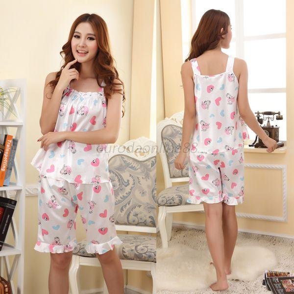 Sexy Lady's Simitated Silk Babydoll Sleepwear Pajamas Nightgown With Short New