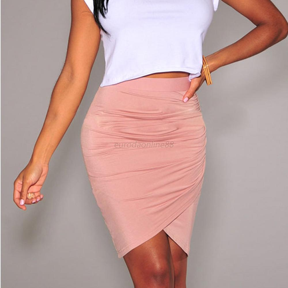 Sexy Lady's Stretch Knit Party Evening Mini Pencil Draped Knee Length Skirt Hot