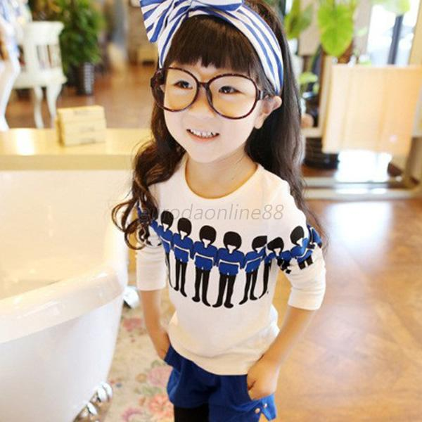 New Baby Patterned T-shirt Girls Toddler Long Sleeve Casual Cotton Tee Tops E14