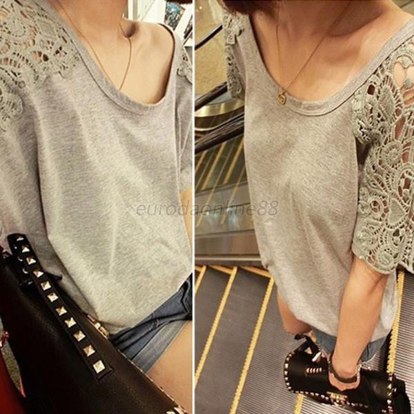 Trendy Lady's Short Sleeve Casual Shirt LooseTee Lace Crochet Top Summer Hot