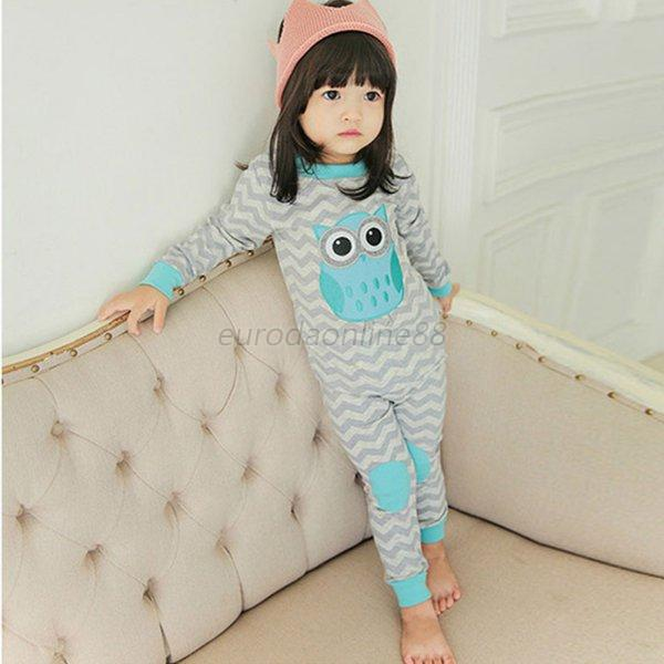 Baby Kids Cotton Wave Grey Long Sleeve Owl Pattern Top+Pants Set Lovely Clothes