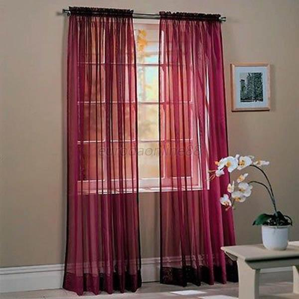 Fashion Home Door Window Solid Sheer Curtains 10Colors Voile Drape Panel Curtain