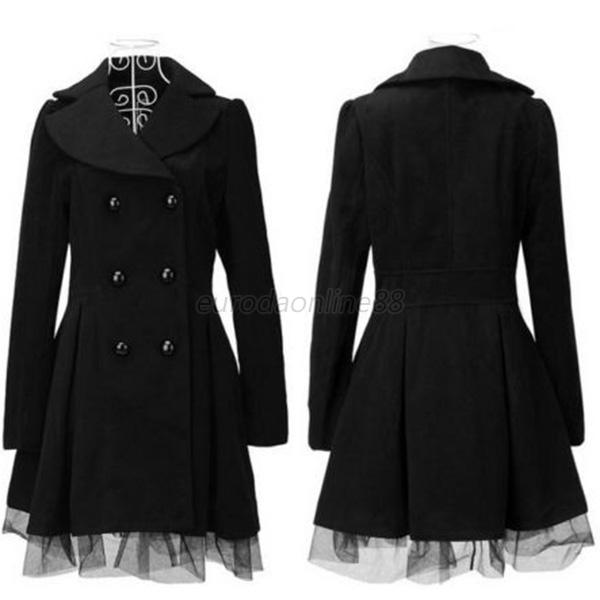 Women's Double Breasted Long Jacket Peacoat Black Lace Trench Coat Outwear EUF