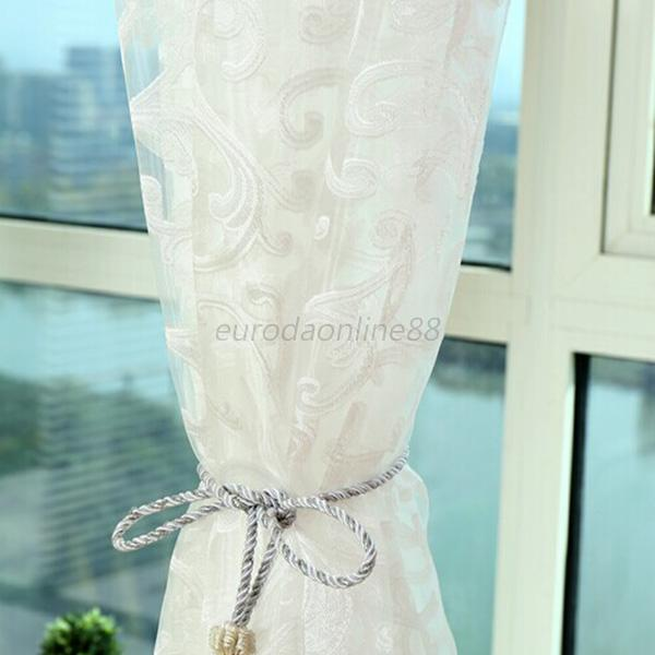 Hot  Floral Type Tulle Voile Door Window Curtain Drape Panel Sheer Scarf Valance