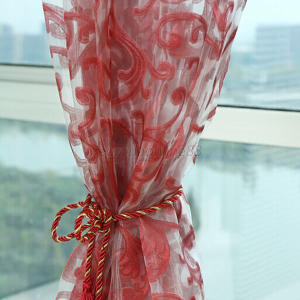 Floral Type Drape Panel Sheer Scarf Valance Tulle Voile Door Window Curtain New