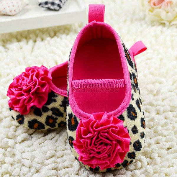 0-18M Infant Baby Kids Girls Soft Sole Leopard Flower Shoes Knitted Crib Shoes