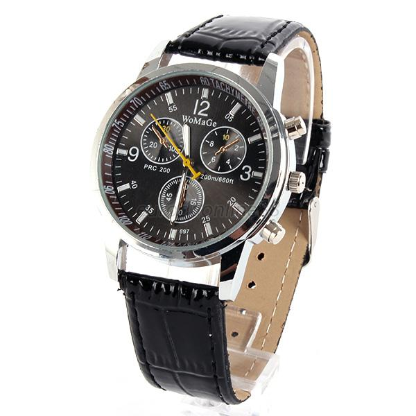 Fashion Unisex Stainless Steel Sport Quartz Watch Men Analog Leather Wrist Watch